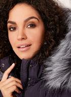 Novelti - Removable Faux Fur Trim Down Coat  , Purple, hi-res