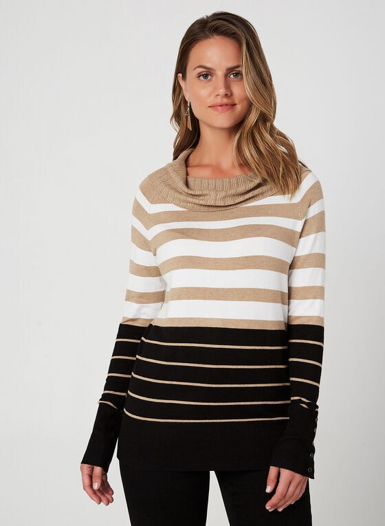 Marilyn Neck Sweater, Brown, hi-res