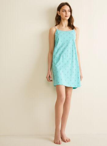 Claudel Lingerie - Robe de nuit imprimée, Bleu,  printemps été 2020, robe de nuit, pyjama, chemise de nuit, bretelles, coton, imprimé, Claudel Lingerie