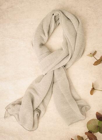 Étole à texture pailletée, Argent,  automne 2021, fait au Canada, accessoire, étole, écharpe, texturé, pailletté, scintillant, chatoyant, foulard léger, étole de soirée, lurex