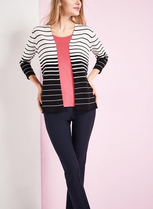 Stripe Print Knit Cardigan, Black, hi-res
