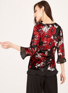 Floral Velvet Chiffon Trim Top, Red, hi-res