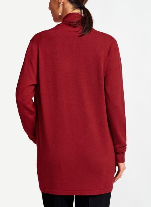 Cardigan ouvert en tricot et col châle, Rouge, hi-res