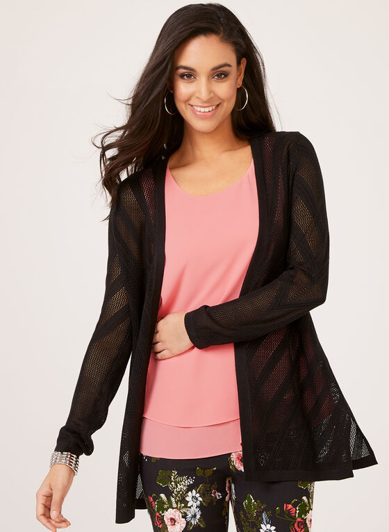 Open Front Cardigan , Black, hi-res