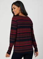Stripe Print Henley Top, Red