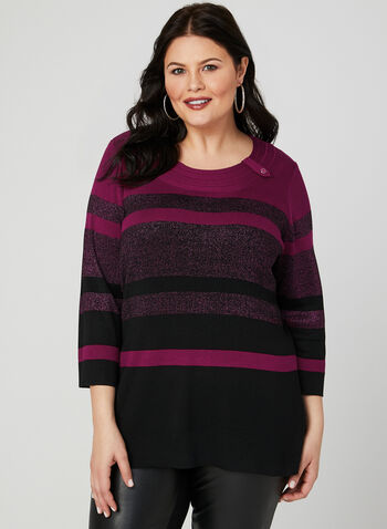 ¾ Sleeve Stripe Print Top, Purple, hi-res