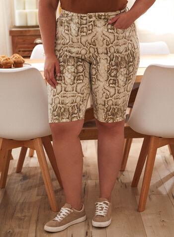 Shorts en denim à motif serpent, Blanc cassé,  Fait au Canada, printemps été 2021, shorts, denim, jean, imprimé, motif, bermuda, taille haute, peau de serpent, extensible