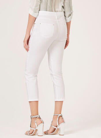 Simon Chang - Embroidered Studded Distressed Jeans, White, hi-res