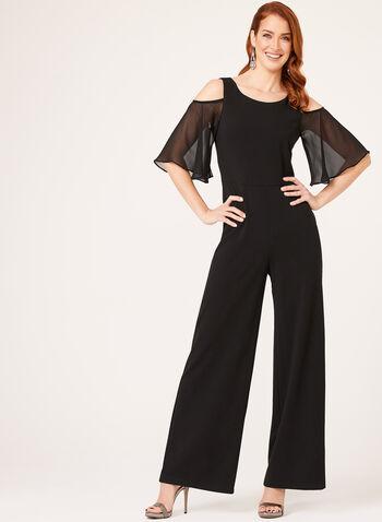 Cold Shoulder Chiffon Sleeve Jumpsuit, Black, hi-res