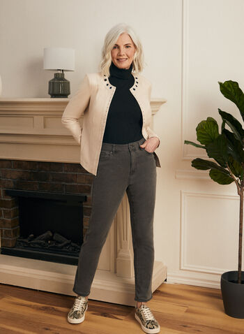 Straight Leg Jeans, Grey,  Fall winter 2020, dark, denim, mid rise,