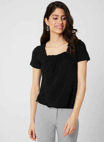 Short Sleeve Jersey Top, Black,  Made in Canada, Short sleeves, Fall 2019, Winter 2019, jersey, elasticized hem