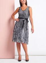 Rose Print Satin Stripe Dress, Grey, hi-res