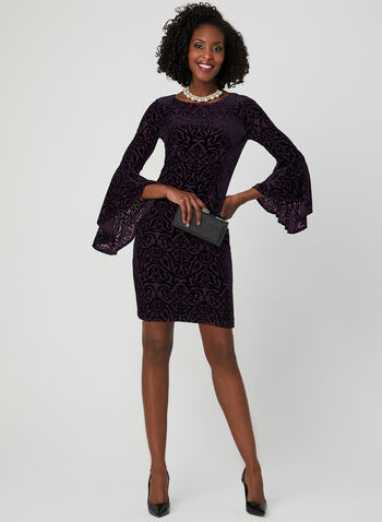 Burnout Velvet Dress, Purple, hi-res