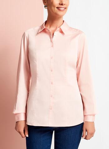 Long Sleeve Button Down Cotton Blouse, Pink, hi-res