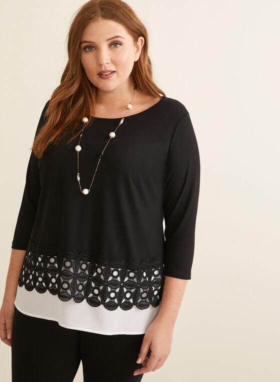 Layered Crochet Hem Top, Black