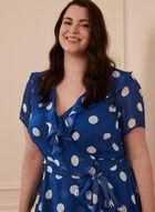 Dotted Print Flounce Trim Dress, Blue