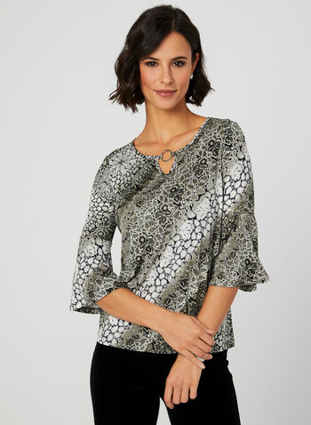 Emellished Jersey Top, Black, hi-res