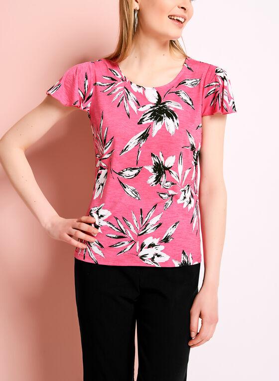 Floral Print Flutter Sleeve Top, Red, hi-res