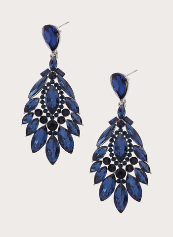 Facetted Crystal Chandelier Earrings, Blue, hi-res