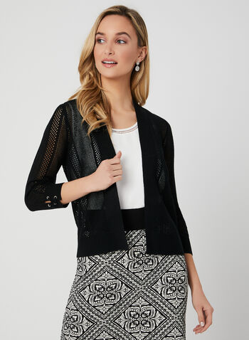 Lace Up Detail Cardigan, Black, hi-res,  pointelle, open front, spring 2019