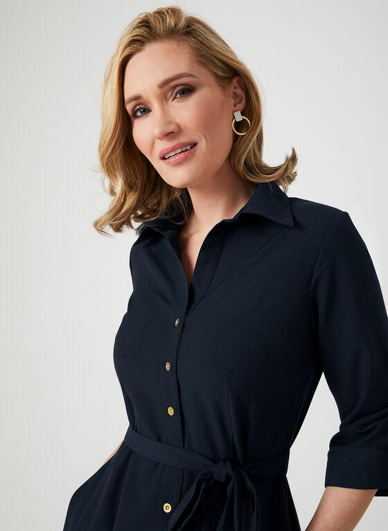 ¾ Sleeve Shirt Dress, Blue