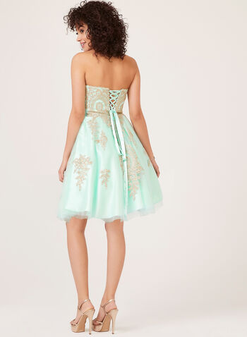 Strapless Fit & Flare Dress, Green, hi-res