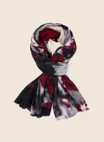 Floral Print Scarf, Black,  scarf, floral print, fall winter 2020