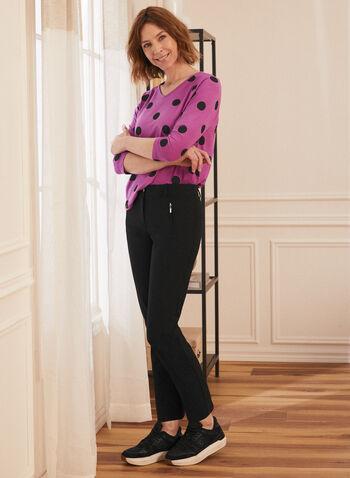 T-shir à motif pois, Violet,  top, haut, t-shirt, encolure en V, col en V, motif, imprimé, pois, extensible, manches 3/4, printemps été 2021
