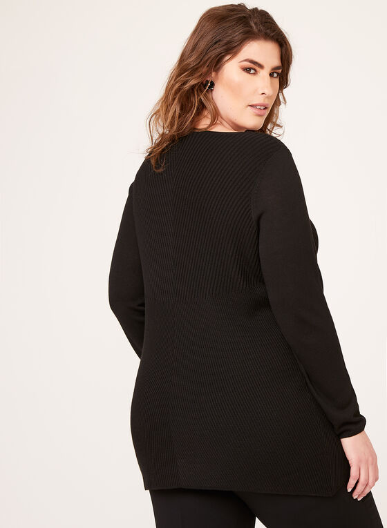 Asymmetric Hem Tunic Sweater, Black, hi-res