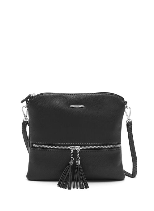 Double Tassel Detail Crossbody Bag, Black, hi-res