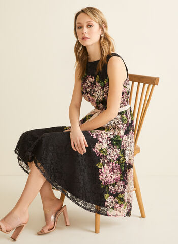 Floral Print Lace Dress , Black,  spring 2020, dress, lace, flowers, sleeveless, ribbon belt, fit and flare