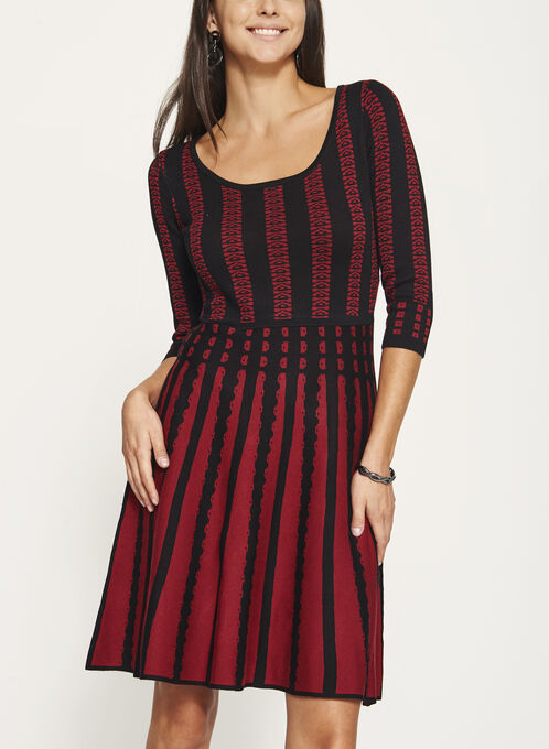 Fit & Flare Knit Dress, Black, hi-res