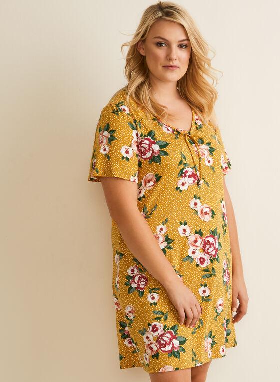 Hamilton - Chemise de nuit tachetée et fleurs, Noir