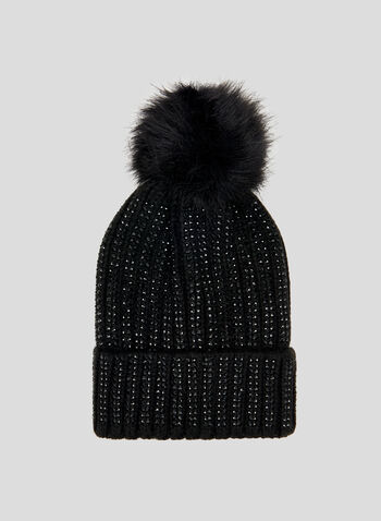 Tuque à brillants et pompon , Noir, hi-res