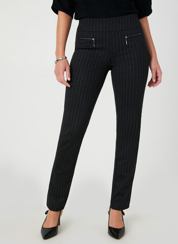 Stripe Print City Fit Pants, Black,  Pants, slim leg, City Fit, stripe print, pull on, Ponte de Roma, fall 2019, winter 2019