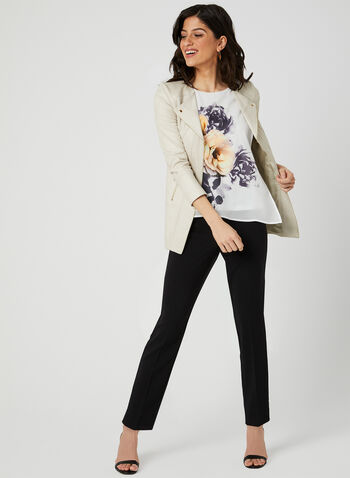 Floral Print Layered Blouse, White, hi-res