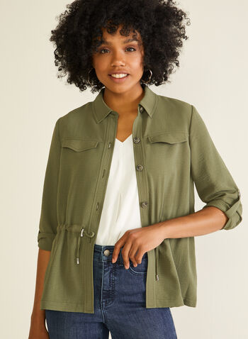 Shirt Collar Drawstring Detail Jacket, Green,  jacket, shirt neck, drawstring, button down, rolled sleeves, long sleeves, spring summer 2020