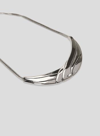 Smooth Metal Collar Necklace, Silver, hi-res