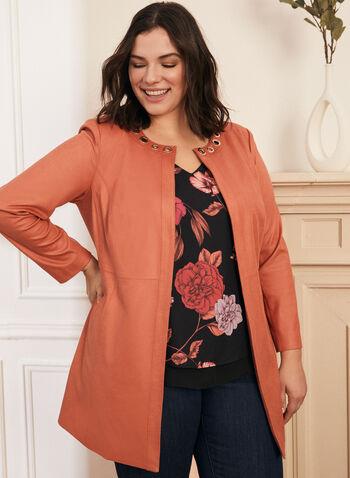 Faux Suede Jacket, Orange,  Spring summer 2020, faux suede, long sleeves, eyelet