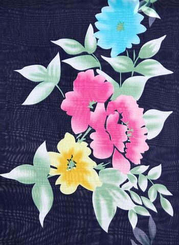 Foulard à fleurs en mousseline, Bleu, hi-res
