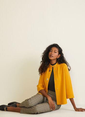 Button Front Trapeze Cardigan, Yellow,  cardigan, knit, button, 3/4 sleeves, fall winter 2020