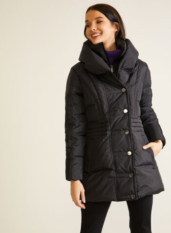 Large Collar Quilted Coat, Black,  fall winter 2020, coat, quilted, down, hood, pockets, water repellent, vegan