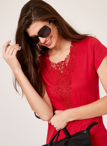 Lace Trim T-Shirt, Red, hi-res