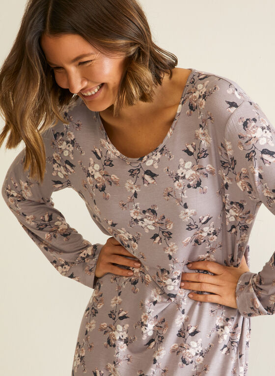 Floral Print Nightgown, Brown