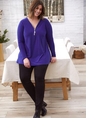 Zipper Collar Top, Blue,  made in Canada, top, v neck, zipper, long sleeves, asymmetrical, tunic, fall winter 2021