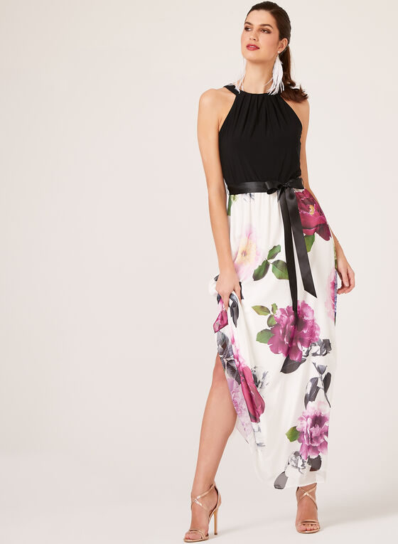 Floral Print Maxi Dress, Black, hi-res