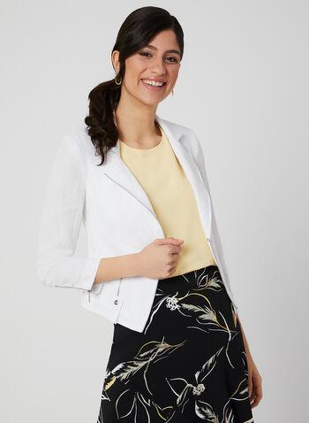 Vex - Veste à détails zippés, Blanc, hi-res,  manches longues, fermeture éclair, métallique, printemps 2019, col cranté