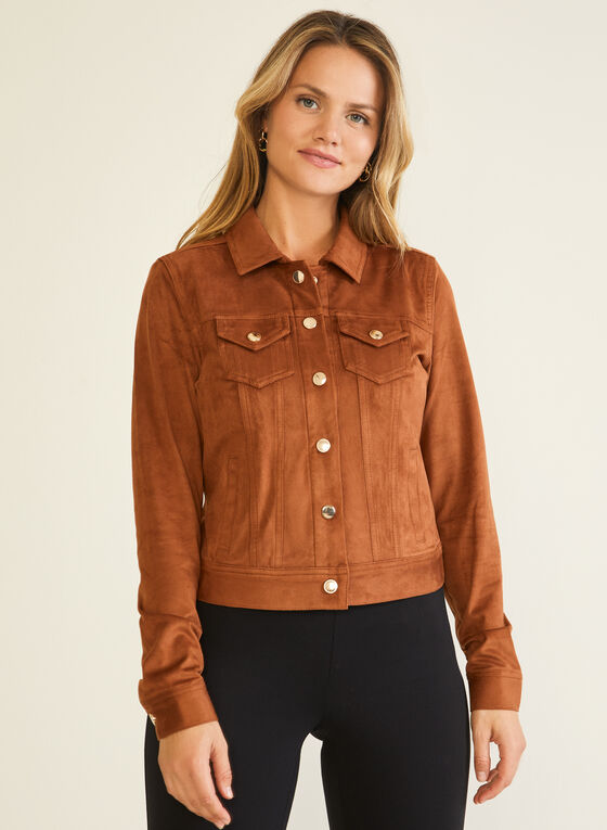Faux Suede Shirt Collar Jacket, Brown
