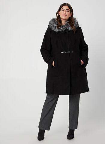 Manteau à col en fausse fourrure, Noir,  manteau, mi-long, capuchon, fausse fourrure, mousqueton, automne hiver 2019