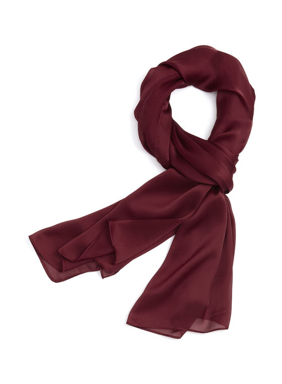 Foulard oblong en mousseline, Rouge, hi-res